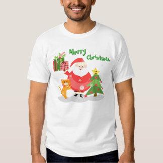 Christmas Cat and Santa T-Shirt
