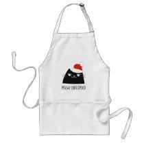 Christmas Cat Apron | Funny Black Kitty Santa Face