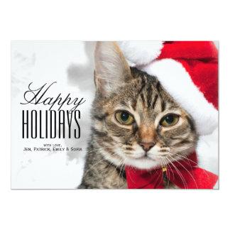 Christmas cat at red santa's hat card