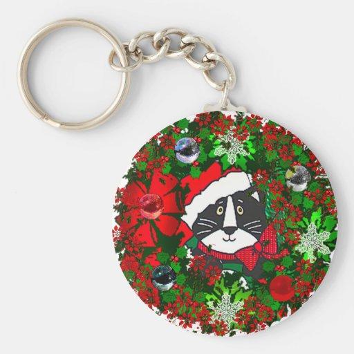 Christmas Cat Basic Round Button Keychain