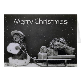 Christmas Cat Bearing Gifts Card