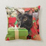 Christmas - Cat - Bentley Throw Pillows