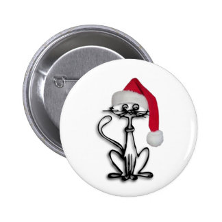 Christmas Cat Pinback Buttons