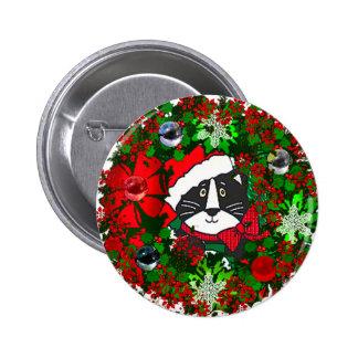 Christmas Cat Pinback Button