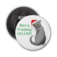 Christmas Cat Button Bottle Opener
