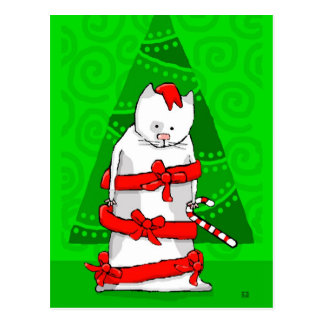 Christmas Cat Calendar in Red Holiday Ribbon Postcard