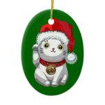 Christmas Cat Ceramic Ornament
