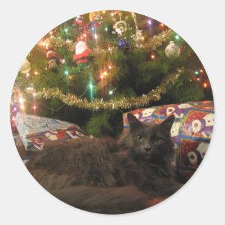 Christmas Cat Classic Round Sticker