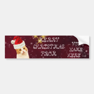 Christmas Cat Customizable Name Greetings Postcard Bumper Sticker