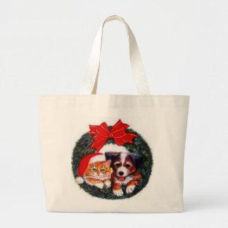 Christmas Cat & Dog Wreath Bag