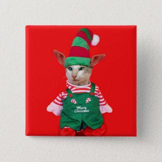Christmas Cat Elf Button