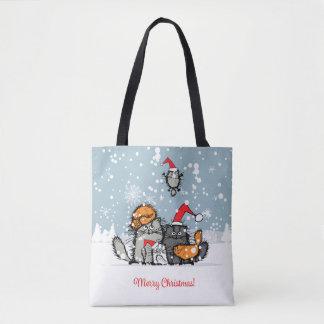 Christmas Cat Family Tote Bag