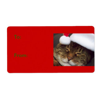 Christmas Cat Gift Tag Label