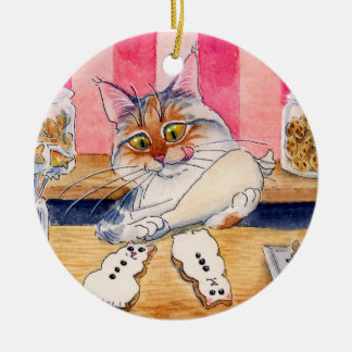 Christmas Cat, Gingerbread Snowman ornament