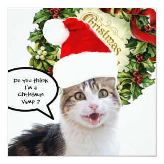 CHRISTMAS CAT ,Grooved Invitation