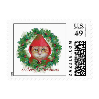 Christmas Cat Holiday Postage