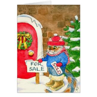 Christmas Cat House for Sale Card