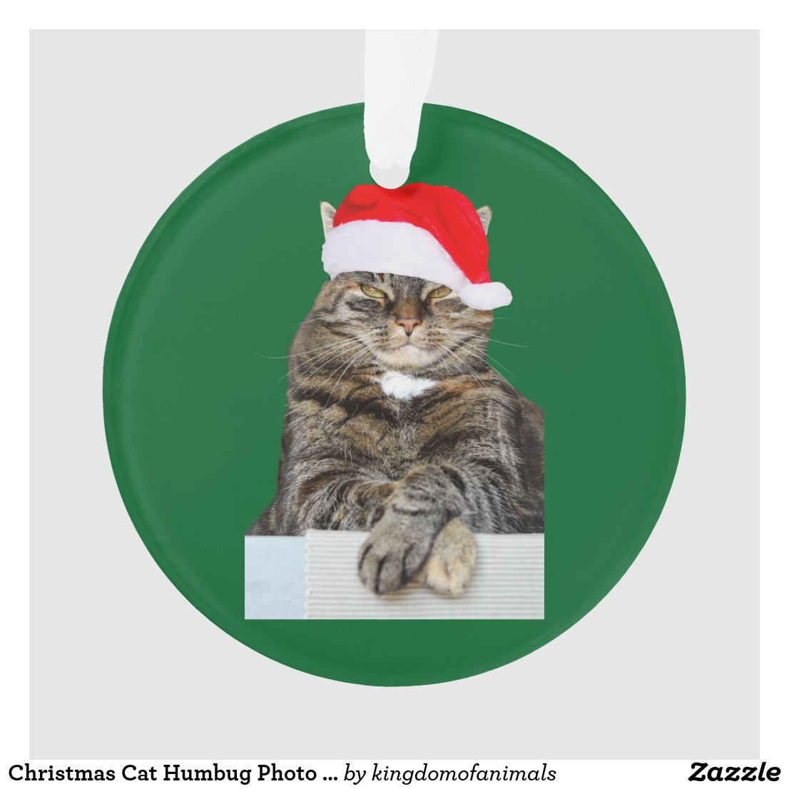 Christmas Cat Humbug Photo Circle Ornament