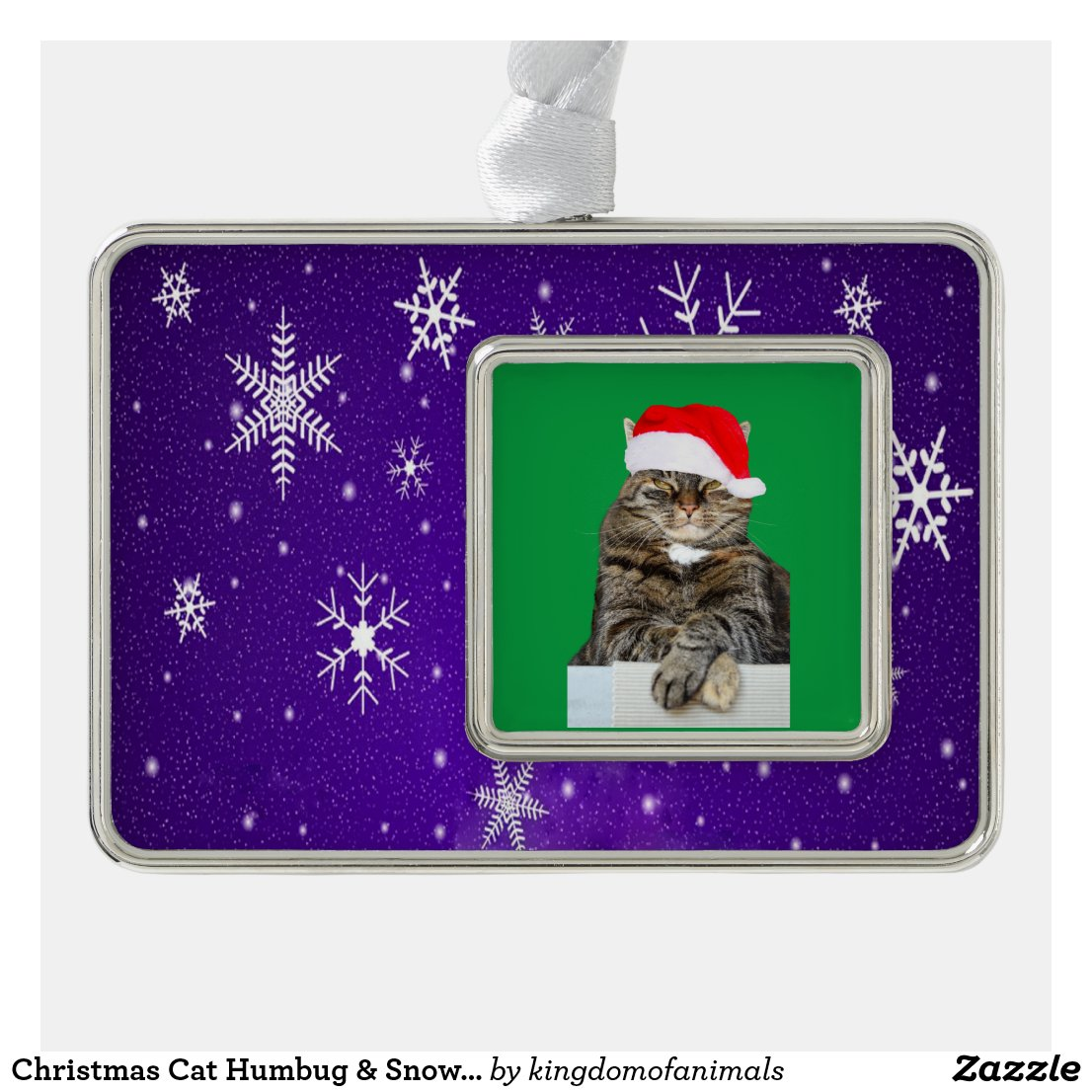 Christmas Cat Humbug & Snow Photo Framed Ornament