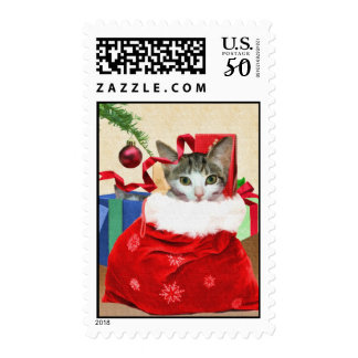 Christmas Cat In A Bag Postage