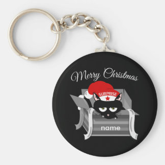 Christmas Cat in a Gift Box Basic Round Button Keychain