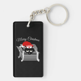 Christmas Cat in a Gift Box Double-Sided Rectangular Acrylic Keychain