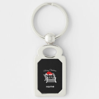 Christmas Cat in a Gift Box Silver-Colored Rectangular Metal Keychain
