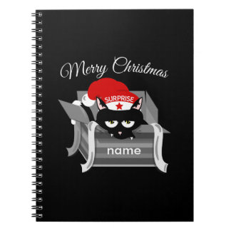 Christmas Cat in a Gift Box Spiral Notebook