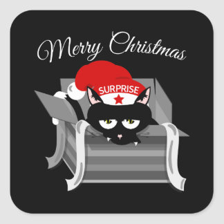 Christmas Cat in a Gift Box Square Sticker