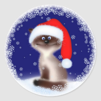 Christmas Cat in Santa Hat Round Stickers