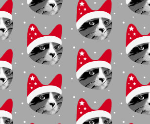 Christmas Cat In Santa Hat Wrapping Paper