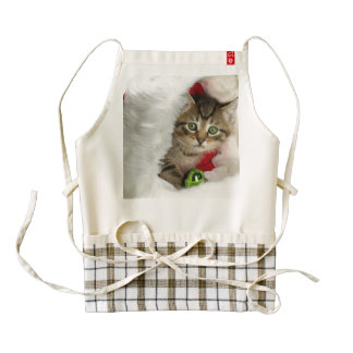 Christmas cat -kitten cat - cute cats zazzle HEART apron
