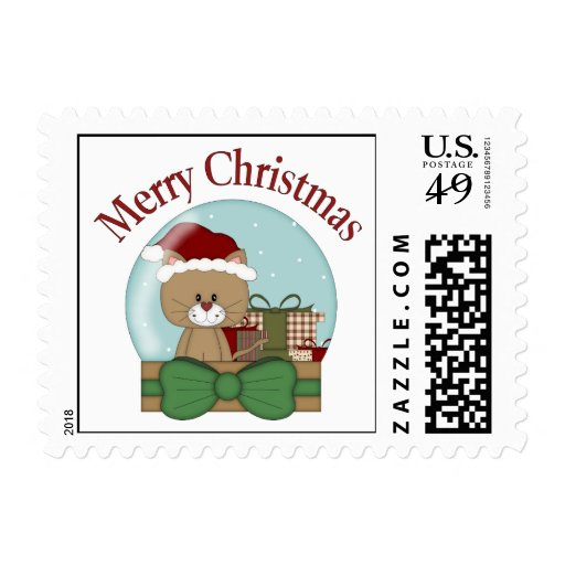 Christmas Cat Kitten Holiday Christmas Snowglobes Stamps