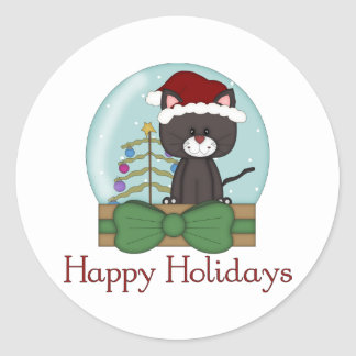 Christmas Cat Kitten Holiday Christmas Snowglobes Classic Round Sticker