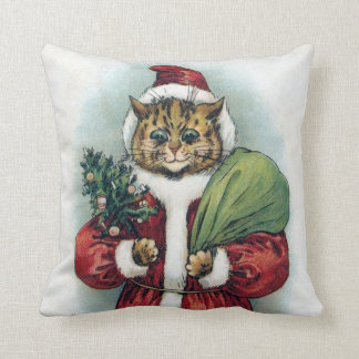 Christmas cat, Louis Wain Throw Pillow