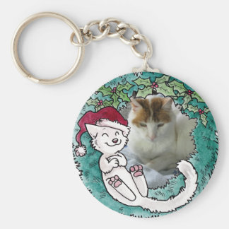 Christmas Cat Nap Wreath Photo Ornament Keychain