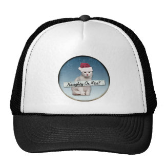christmas cat naughty or nice trucker hat