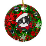 Christmas Cat Double-Sided Ceramic Round Christmas Ornament