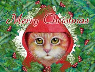 christmas cat postcard - Merry Christmas Cat