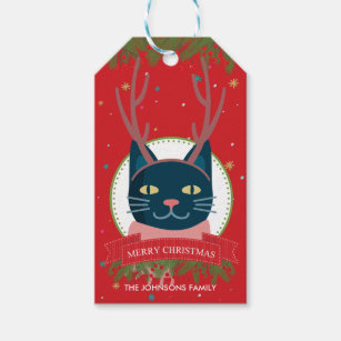 Christmas Tag Cat Gift Tags Gift Enclosures Zazzle