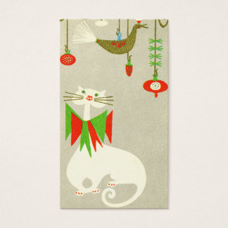 Christmas Cat Retro Holiday Gift Tag Holiday Kitty