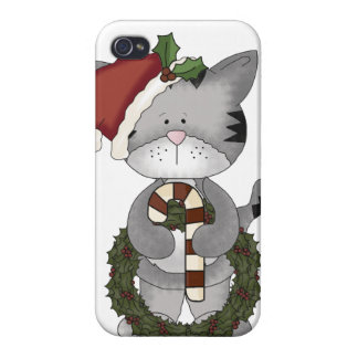 Christmas Cat Santa Claus Cases For iPhone 4