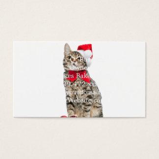Christmas cat - santa claus cat - cute kitten business card