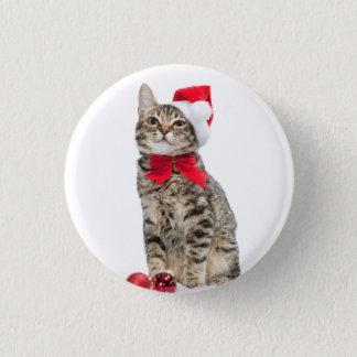 Christmas cat - santa claus cat - cute kitten button