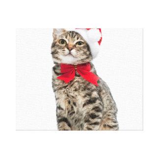 Christmas cat - santa claus cat - cute kitten canvas print