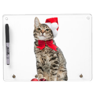 Christmas cat - santa claus cat - cute kitten dry erase board with keychain holder