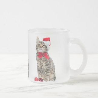 Christmas cat - santa claus cat - cute kitten frosted glass coffee mug