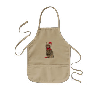 Christmas cat - santa claus cat - cute kitten kids' apron