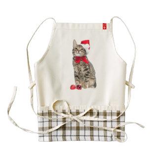 Christmas cat - santa claus cat - cute kitten zazzle HEART apron