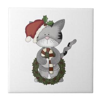 Christmas Cat Santa Claus Ceramic Tile